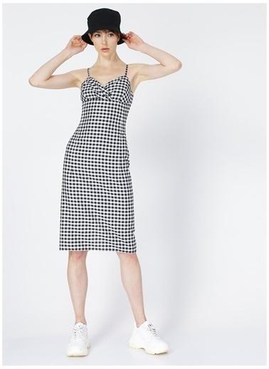 Limon Company Limon Irtis Siyah - Beyaz Kare Desenli Kadın Elbise Siyah